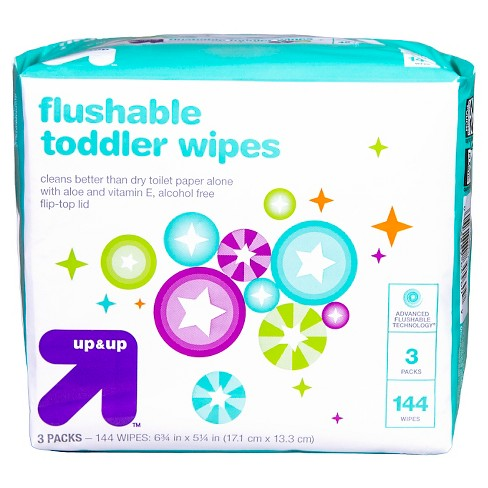 Toddler Wipes Flushable - 144ct - Up&Up™ - image 1 of 3