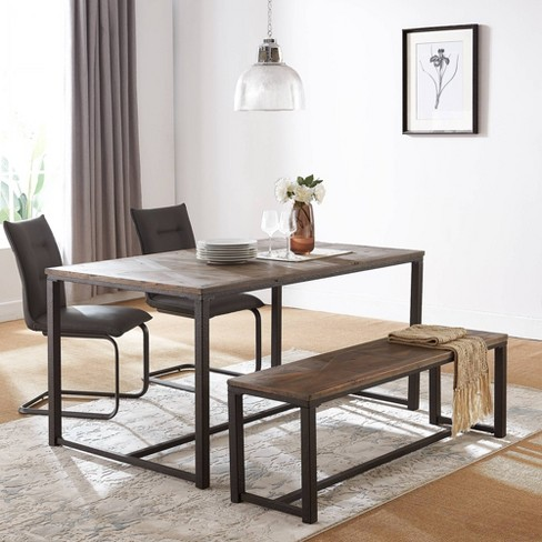 Charleigh Reclaimed Wood Dining Table Natural Black Aiden Lane