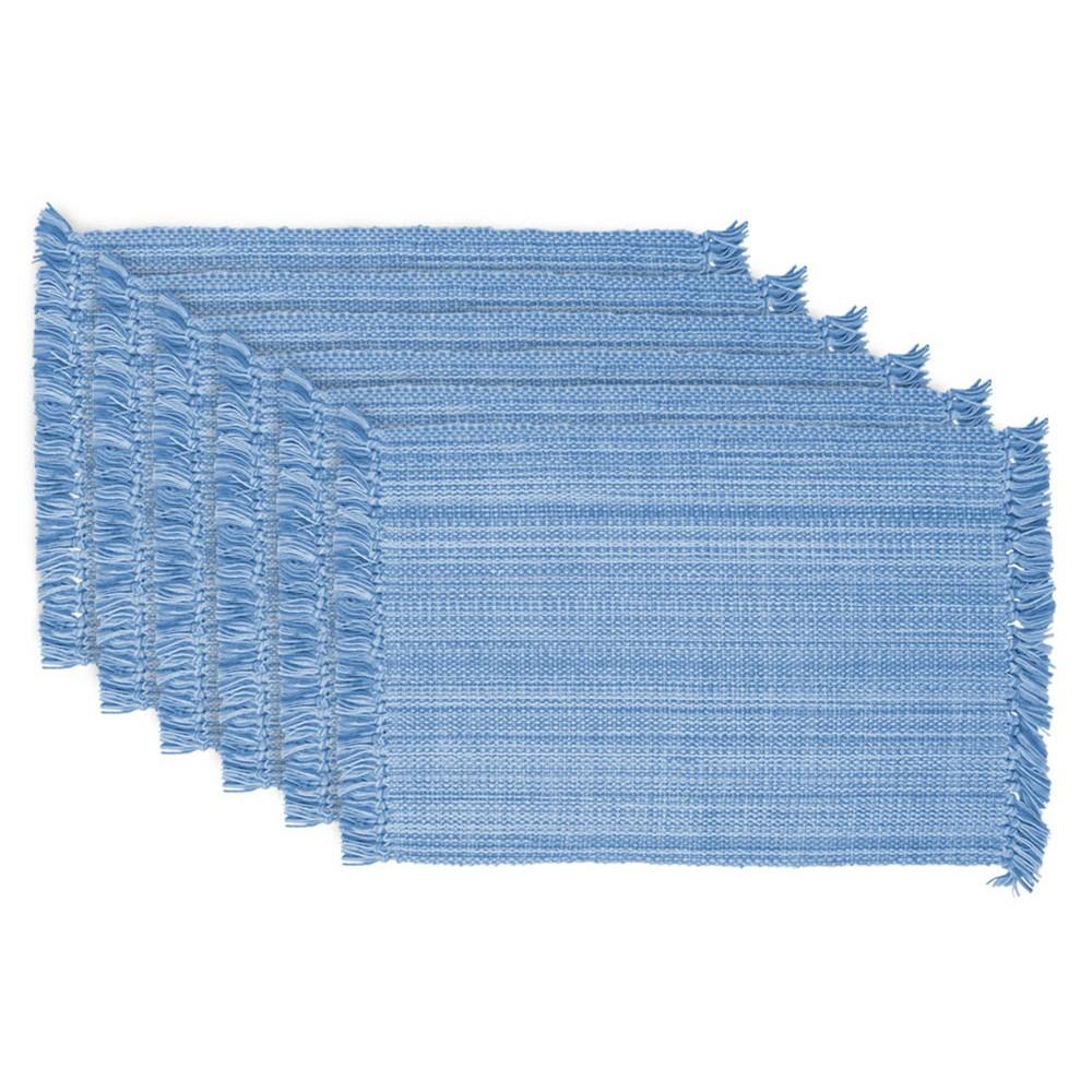 Set of 6 Variegated Fringe Placemat Blue - Design Imports