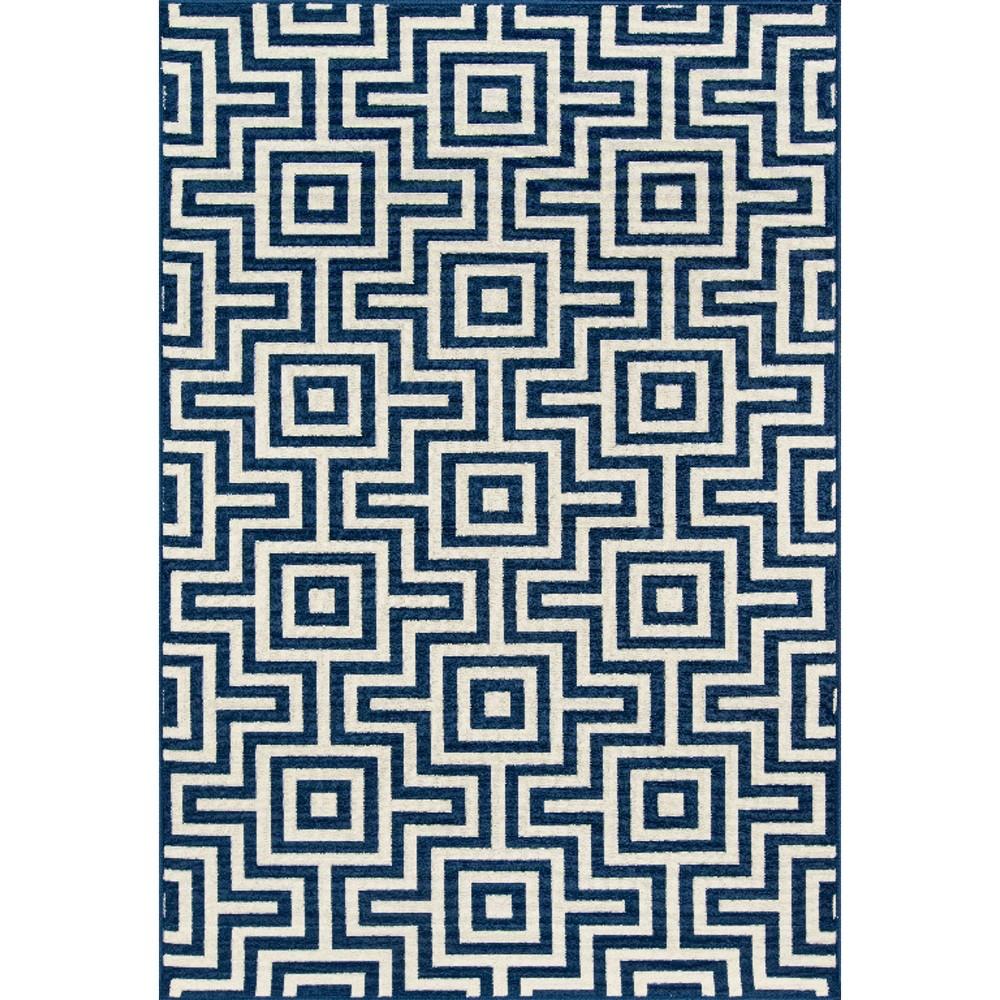 9'X13' Geometric Area Rug Navy (Blue)