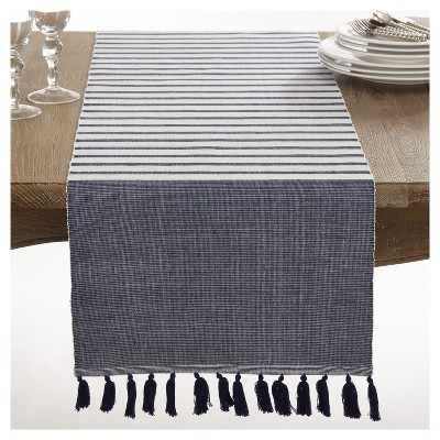 "Navy Blue Bellaria Tassel Design Table Runner (16""x72"")- Saro Lifestyle"