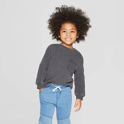 Toddler Boys' Moto Long Sleeve Sweatshirt - art class™ Washed Black 3T