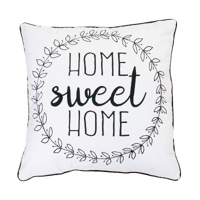 "20""x20"" 'Home Sweet Home' Oversize Square Throw Pillow Bright White - Décor Therapy"