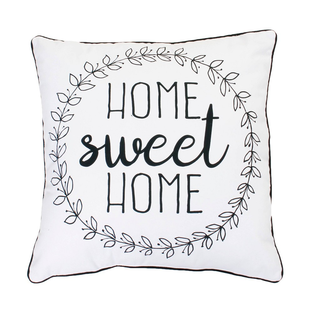 """Image of """"20""""""""x20"""""""" 'Home Sweet Home' Oversize Square Throw Pillow Bright White - Décor Therapy"""""""