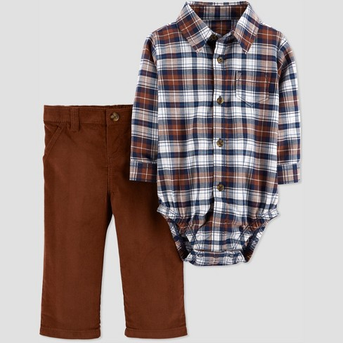 Baby Boys' 2pc Plaid BDS Set - Just One You® made by carter's Brown - image 1 of 1