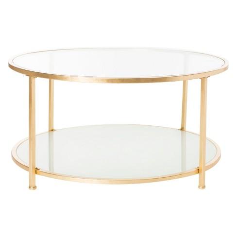 2 Tier Ivy Round Coffee Table Gold Safavieh