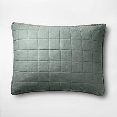 Standard Heavyweight Linen Blend Quilted Pillow Sham Sage Green - Casaluna™