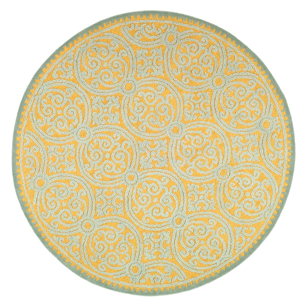 Medallion Tufted Round Area Rug Blue/Gold