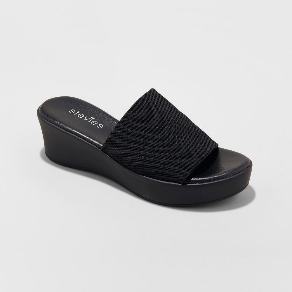 Girls' #stretch Wedge Sandals Stevies - Black 13