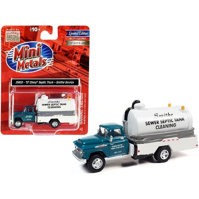 """1957 Chevrolet Septic Tanker Truck """"Smithe Septic Service"""" Glade Green and White 1/87 (HO) Scale Model by Classic Metal Works"""