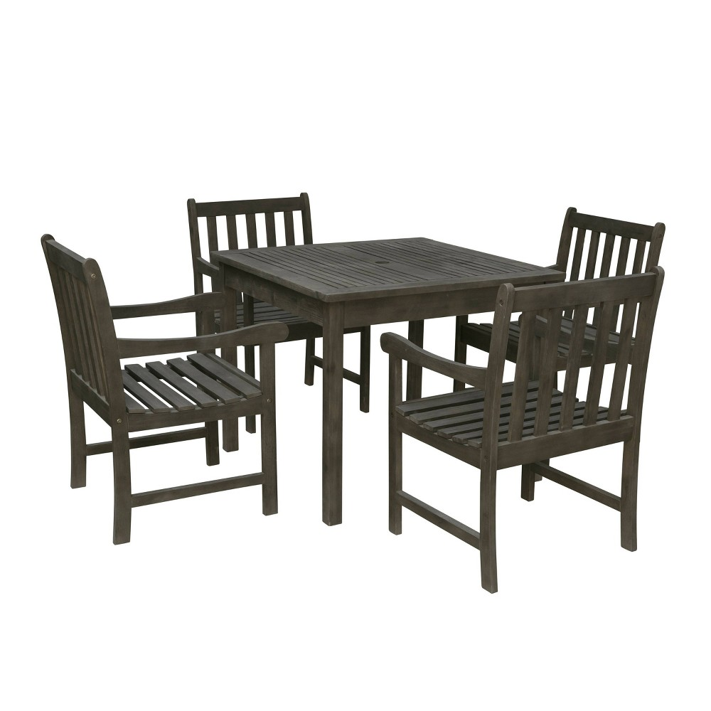 Renaissance 5pc Wood Outdoor Patio Stacking Dining Set - Gray - Vifah