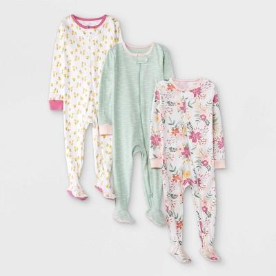Baby Girls' 3pk Meadow Tight Fit Sleep N' Play - Cloud Island™ White 12M