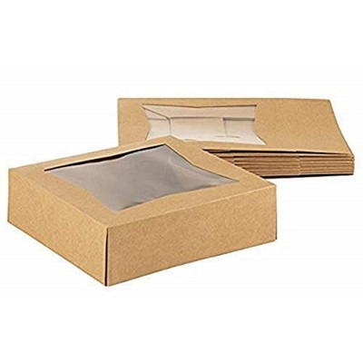 """Juvale 10 Pack Pastry Box Take Out Container with Window for Bakery Cookie Cupcake Dessert, Kraft Paper 8""""x8""""x2.5"""""""