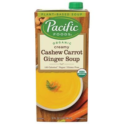 Pacific Foods Organic Gluten Free Vegan Creamy Cashew Carrot Ginger Soup - 32oz
