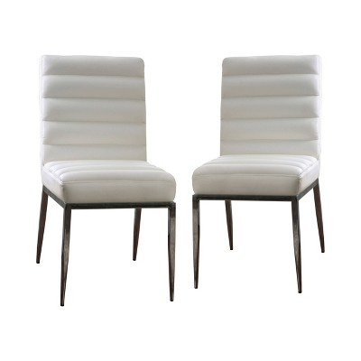Set of 2 Fenn Upholstered Side Chairs White - miBasics