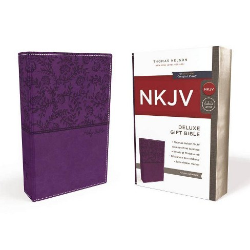 NKJV, Deluxe Gift Bible, Imitation Leather, Purple, Red Letter Edition - by  Thomas Nelson - image 1 of 1