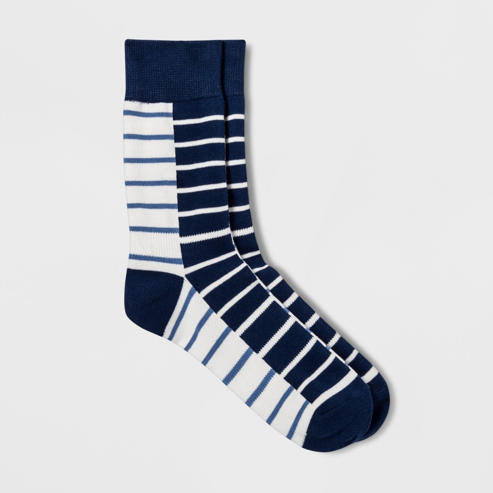 Image of Pair of Thieves Men's Crew Socks - Navy 8-12, Size: Small, White Blue