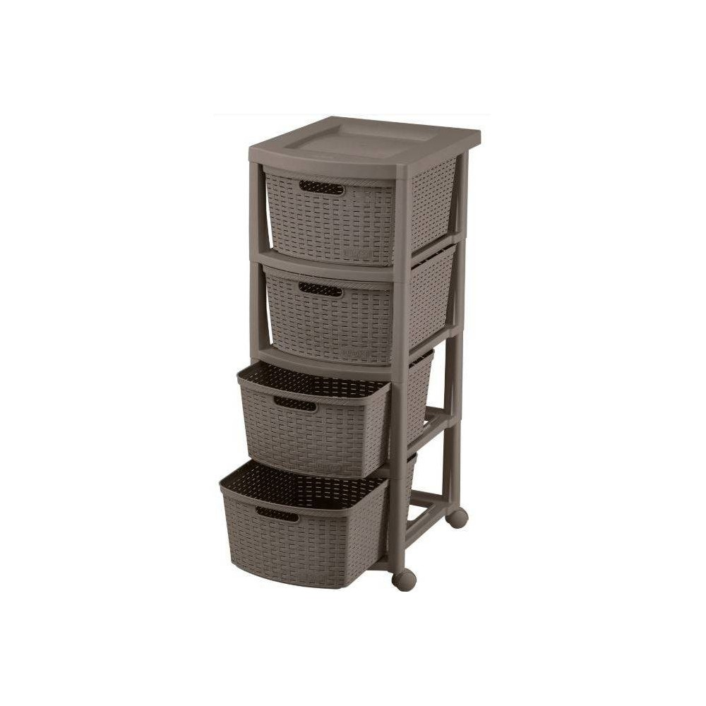 Image of 4 Drawer Rolling Cart Wengue - Inval, Brown