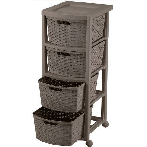 4 Drawer Rolling Cart Wengue - Inval - image 1 of 2
