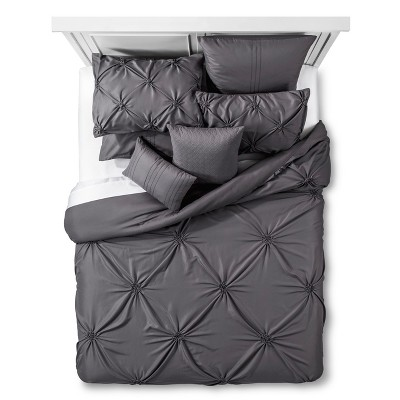 Priscilla Gathered Texture Bed Set King 8 Piece - Gray