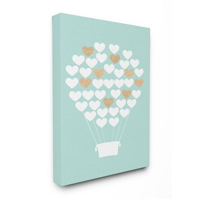 "16""x1.5""x20"" White Gold Teal Heart Hot Air Balloon Stretched Canvas Wall Art - Stupell Industries"