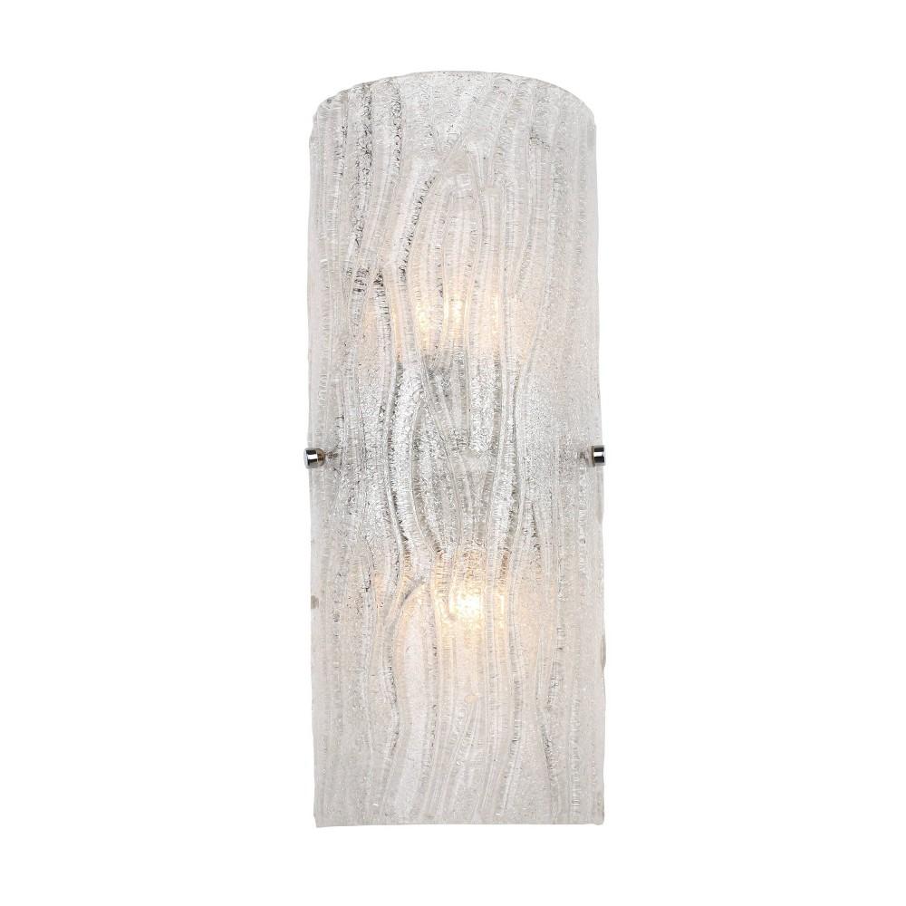 16 34 Brilliance 2 Light Bath Wall Sconce Chrome Finish Bright Ice Glass Varaluz