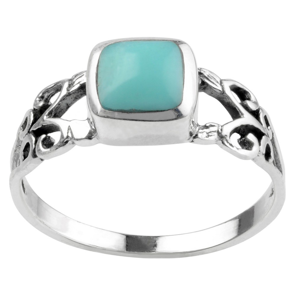 1/3 CT. T.W. Square-cut Turquoise Fashion Bezel Set Ring in Sterling Silver - Blue, 8, Girl's