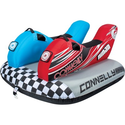 CWB Connelly Ninja 2 Person Saddle Seat Double Jet Ski Inflatable Pull Behind Boat Towable Water Inner Tubing Tube, Blue/Red