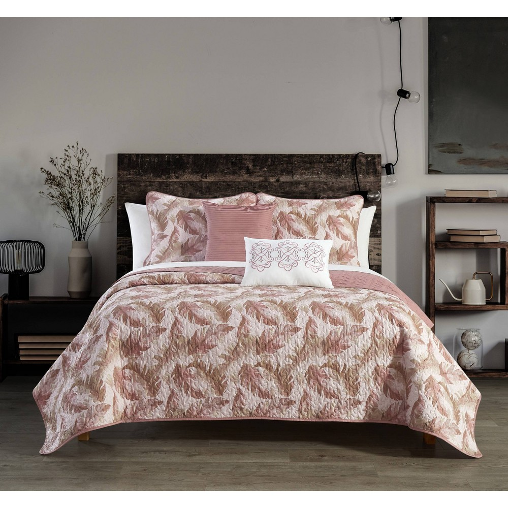 Twin Extra Long 7pc Serra Bed In A Bag Quilt Set Blush Chic Home Design