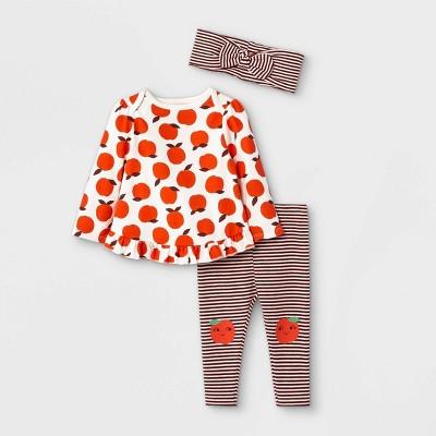 Baby Girls' 3pc Apple Knit Long Sleeve Top & Bottom Set with Headband - Cat & Jack™ Cream 0-3M