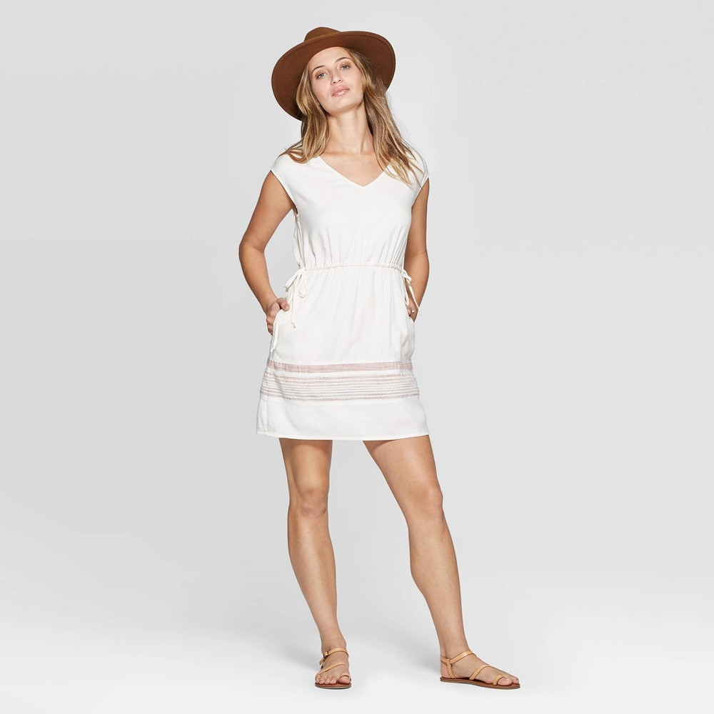 Women's V-Neck Border Print Elastic Waist Dress - Universal Thread Cream XL, Beige