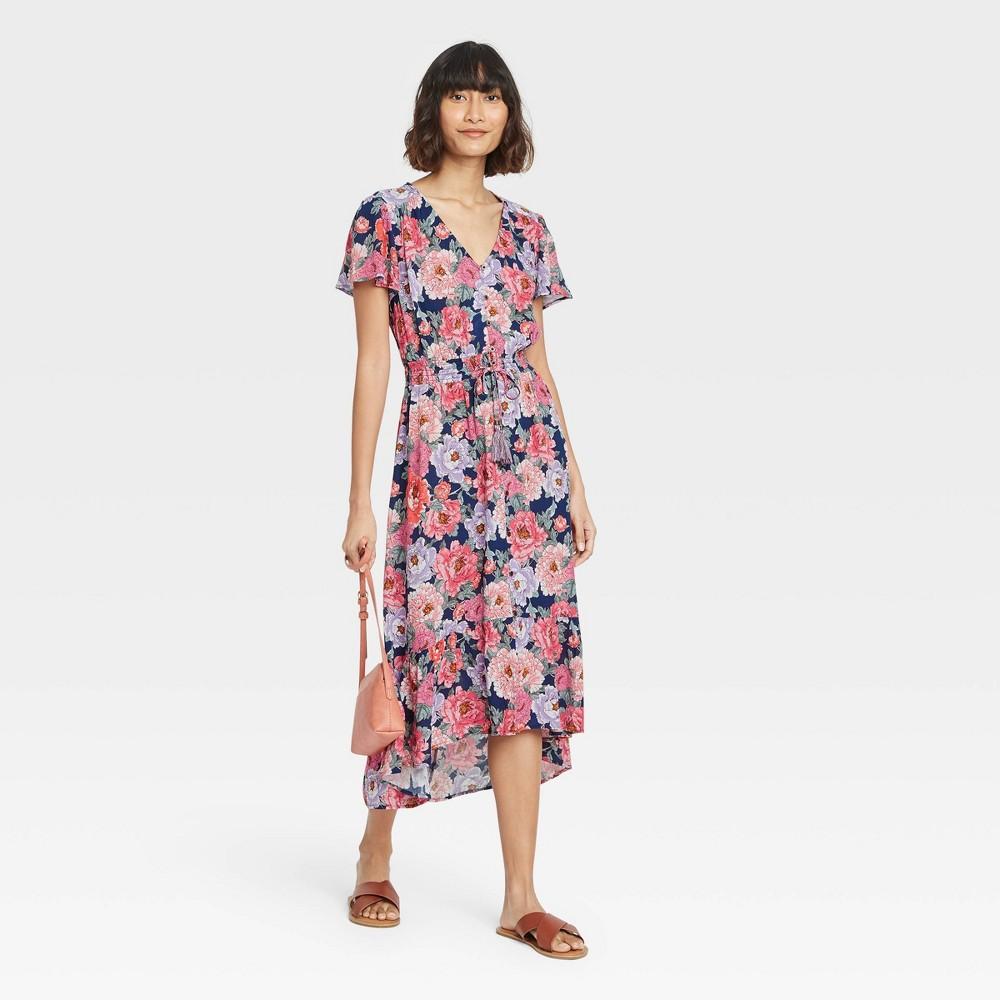 Women 39 S Floral Print Flutter Short Sleeve Dress Knox Rose 8482 Coral Xl