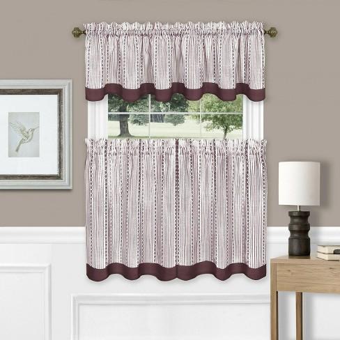 Farmhouse Striped Café Kitchen Curtain Tier & Valance Set - Assorted Colors - image 1 of 2