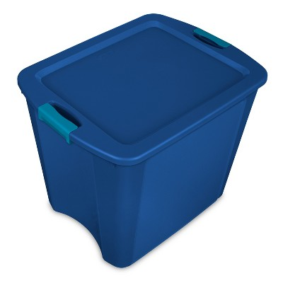 Sterilite 26 Gal Latch & Carry Tote Blue Lid and Blue Latches