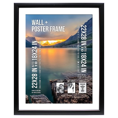 Poster Frame 1.5  Profile - Black - (22 x28  Matted to 18 x24 )