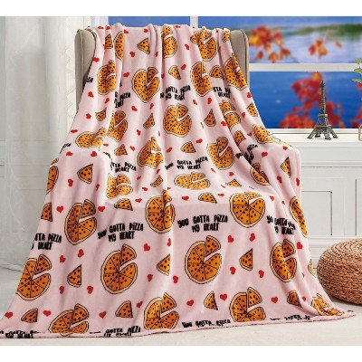 """Extra Cozy and Comfy Microplush Throw Blanket (50"""" x 60"""")Pizza Lover"""