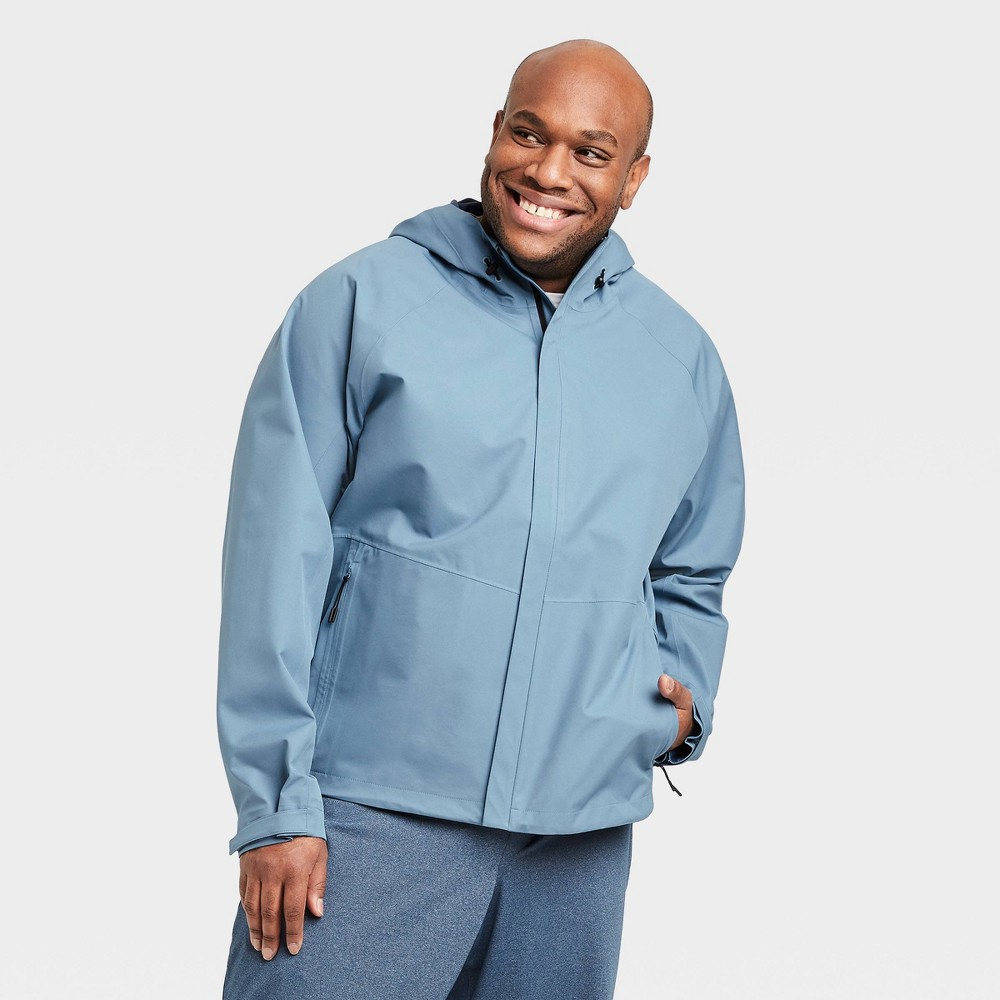 Image of Men's Waterproof Jacket - All in Motion Blue Gray L, Men's, Size: Large