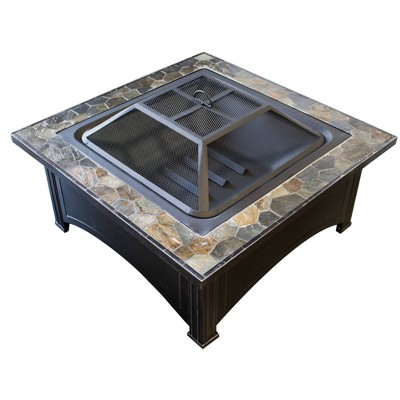 Wood Burning Fire Pit with Square Slate Table - AZ Patio Heaters