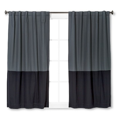 Twill Blackout Curtain Panel Gray/Black Colorblock (42 x95 )- Pillowfort™