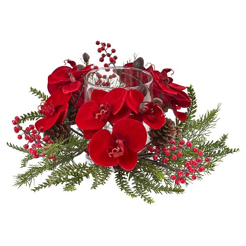 Orchid Berry and Pine Holiday Candelabrum - Red - image 1 of 1