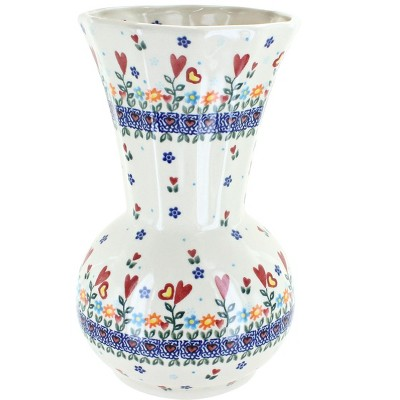Blue Rose Polish Pottery Hearts & Flowers Vase