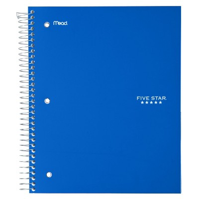 Five Star 3 Subject Wide Ruled Spiral Notebook (Color Will Vary)