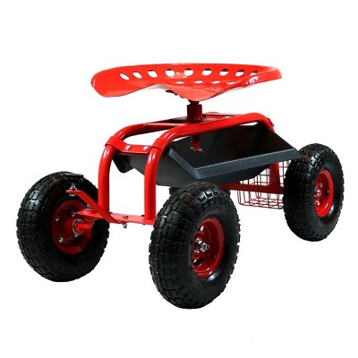 Rolling Garden Cart with Work Seat, Basket and Tray - Red - Sunnydaze Decor