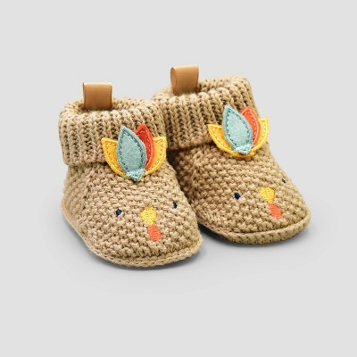 Baby Girls' Thanksgiving Knitted Turkey Bootie Slippers - Just One You® made by carter's Tan