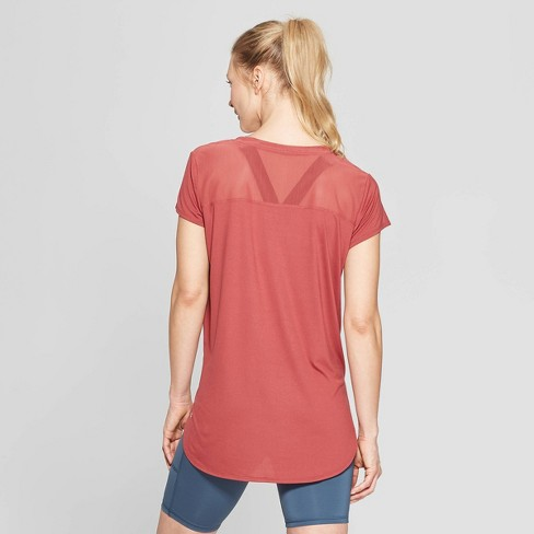 f9e2de8570577b Women s Short Sleeve Power Mesh T-Shirt - C9 Champion® Brick Red S   Target