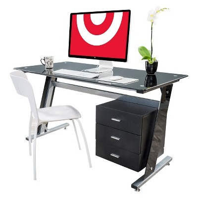 Glass Writing Desk with Drawers Black - Christopher Knight Home