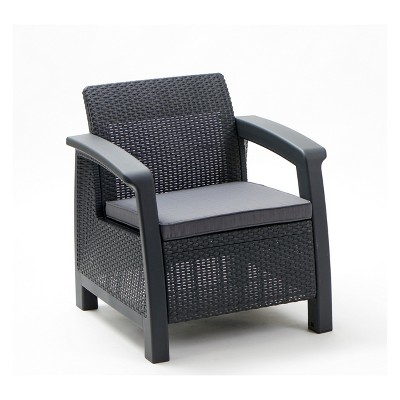 Bahamas Outdoor Resin Patio Armchair with Cushion Graphite - Keter