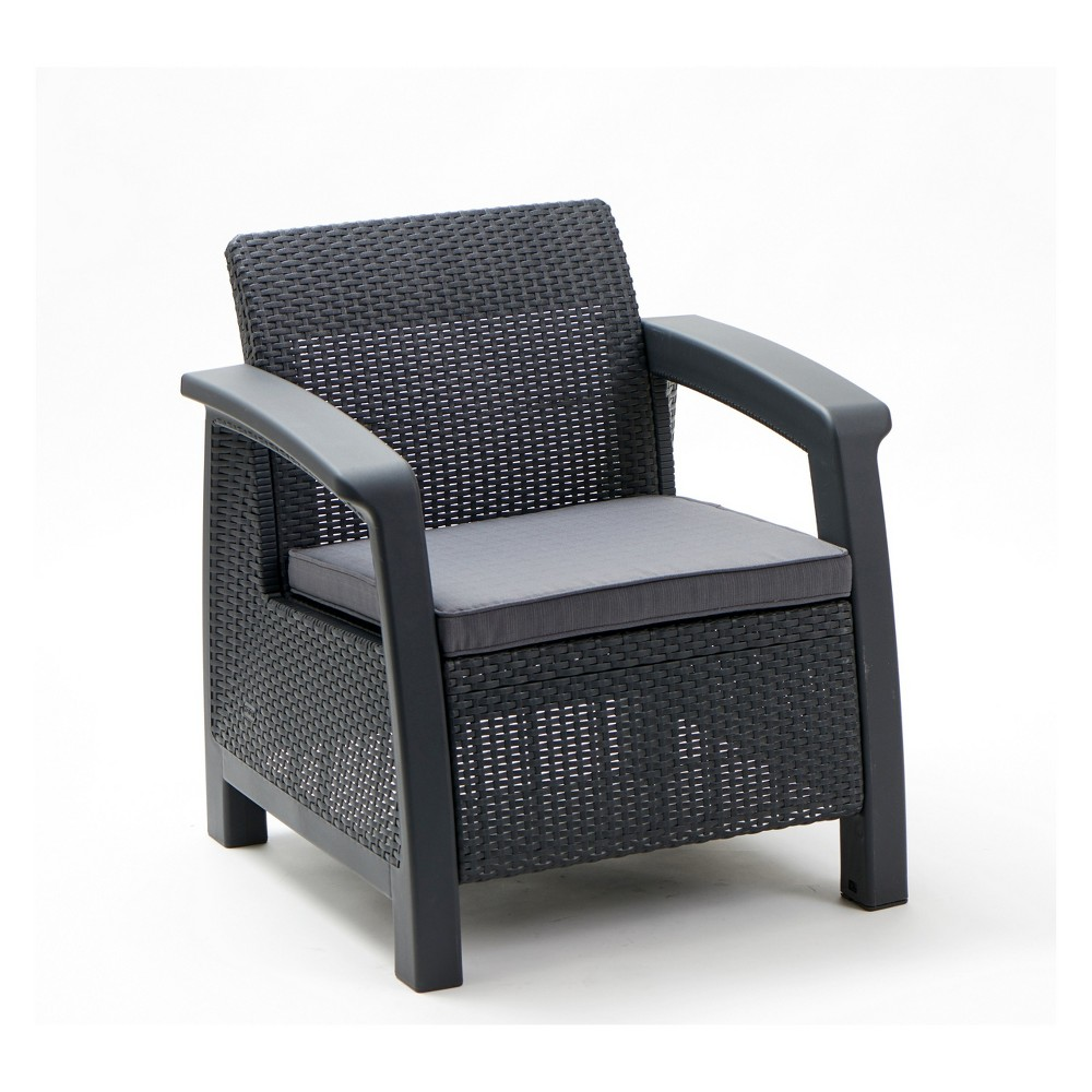 Image of Bahamas Outdoor Resin Patio Armchair with Cushion Graphite - Keter