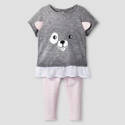 Baby Girls' 2 Piece Puppy Face Set Cat & Jack™ - Gray/Pink Newborn