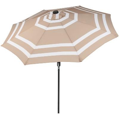 9' Solar LED Outdoor Patio Umbrella with Push Button Tilt and Crank - Beige Stripe - Sunnydaze Decor